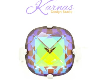 FROSTED CHOCOLATE 16mm Classical Crystal Adjustable Ring Swarovski Elements *Pick Your Finish *Karnas Design Studio *Free Shipping*