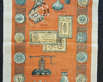 Colonial Currency - Vintage Tea Towel - 100% Linen - Never Used
