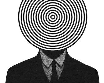 Black and white Surreal art Illustration print Illustration art print Prints illustrations Surrealism Mixed media print