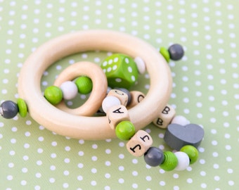 Wooden teether - rattle - natural baby toy - baby gift - rattle teether - baby shower gift - baby boy - wooden toy - personalized baby toy
