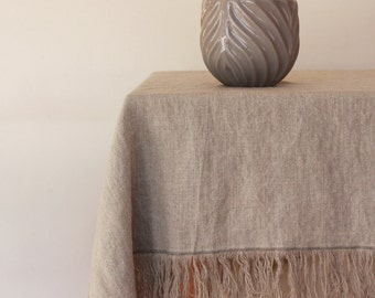 Stonewashed Linen Tablecloth with fringes - Natural Linen Tablecloth 60x60 - Lithuanian flax - Handmade - Eco-friendly - Made to order
