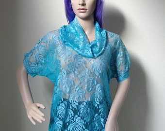 BLUE LACE TSHIRT -boho, 80s, 90s, festival, cute, turtleneck, blouse, transparent, floral, nightie, short sleeve, hippie, sexy, high neck-