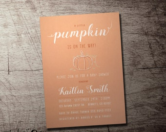 A little pumpkin is on the way baby shower invitation.  Fall baby shower gender neutral design.High quality digital printable file