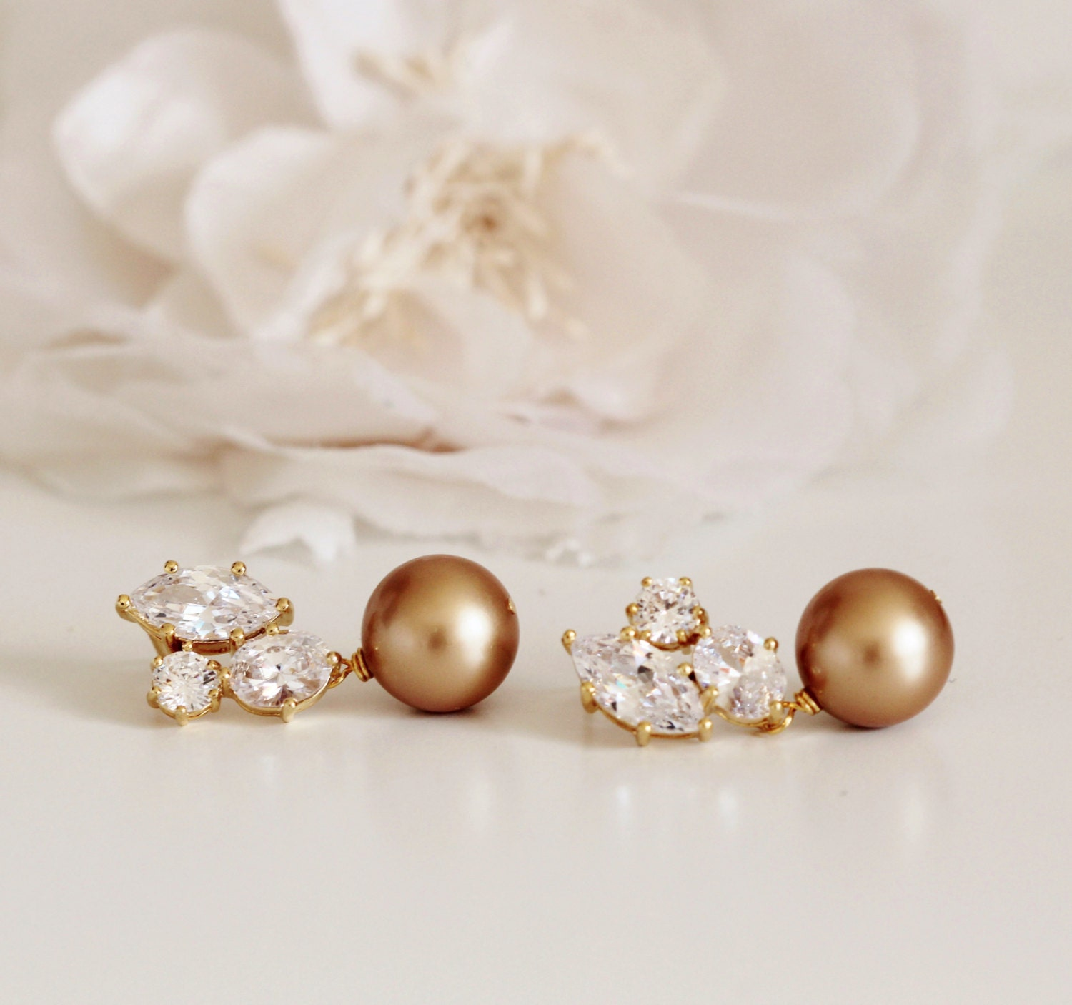 Pearl Wedding Jewelry Mother Of The Bride Gift Gold Bridal Earrings Vintage Groom