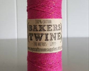 100mt roll 12ply HOT Pink/GOLD Glitter Bakers Twine 100% cotton