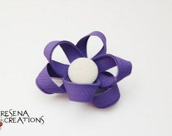Fermaglio Capelli Cerniere Lampo Viola a forma di Fiore, Bottone bianco