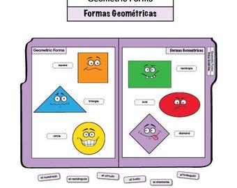 Learning Spanish File Folder Game - Geometric Forms