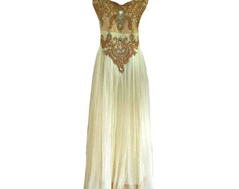 Madeline Beaded Indian Embroidered Dress, Long Formal Maxi Dress, Evening Party Prom Dress, Gypsy Ethnic Indian, Bridesmaid Dress