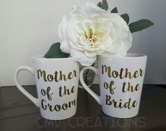 Mother of the Bride Father of the Bride Mother of the Groom Father of the Groom coffee mug Wedding Party Gifts parent engagement gift mob
