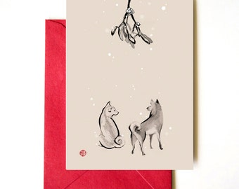 Two Shiba Inu underneath the Mistletoe, Unique Sumi-e Painting Card, Christmas Holiday Winter Love, Ink Illustration