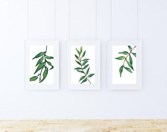 Green leaf print, tropical decor, leaf print set, 3 piece wall art, plants, plant prints, plant art, green art