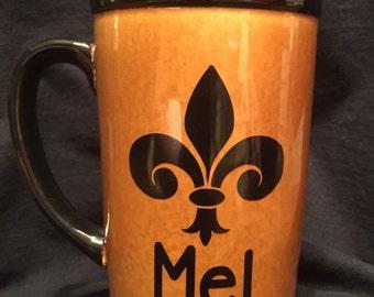 Personalized Fleur-de-lis Coffee Mug   Saints   Who Dat   New Orleans