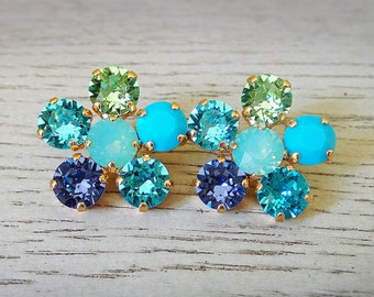Turquoise Flower Stud Earrings - Turquoise and Purple - Swarovski Crystal - Gifts for her - Statement Studs - Flower Earrings - Bohemian