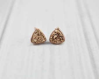 Druzy Earrings, Druzy Studs, Rose Gold Earrings, Druzy Stud Earrings, Post Earrings, Rose Gold Stud Earrings, Tiny studs, Wire Wrapped,Small