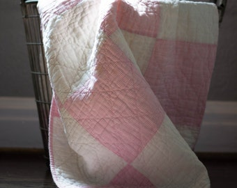 Vintage Pink & White Square Patchwork Quilt Piece