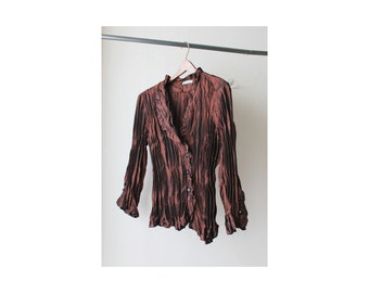 1990's Copper Micro Pleated Wrinkle Blouse