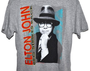 Vintage 80s 1988 ELTON JOHN Reg Strikes Back Rock & Roll Concert Tour T SHIRT Small S