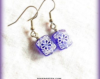 Purple Rectangle Earrings