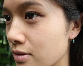 Tiny Earrings, Stud Alternative Earrings, Seafoam Green, Tiny Silver Earrings, Hand Bent, Faceted, Yoga Earrings, Earrings for Moms, Sports