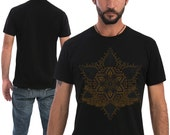 Anahata Yantra Mens T-shirt Screen Printed Psychedelic T shirt Sacred Geometry Mandala Festival Clothing Comes in Black, Grey, Olive, Brown