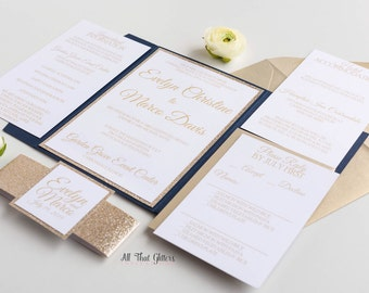 Navy blue Wedding Invitation with glitter, Wedding Invites, Gold Wedding Invitations, Gold Glitter Wedding Invitation pocketfold, Evelyn