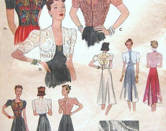 ULTRA RARE 1930s Hollywood Glamour Jacket, Bolero & Blouse Sewing Pattern McCall 655 Afternoon or Evening Wear Embroidered Shirred Bust 32