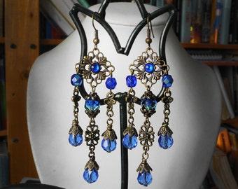 Blue Earrings Long Victorian Bridal Earrings Vintage Wedding Flower Dangles Rustic Edwardian Reenactment Jewelry