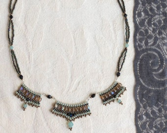 Lustrous Turquoise and Olive Green Beaded Pendant Necklace