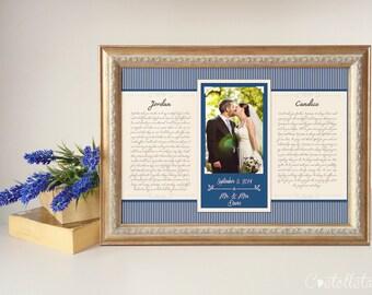 Anniversary Gift - Personalized birthday gift,  Framed Wedding Vows, Wedding Vow Print, Wedding Vow Keepsake, Wedding Vow Art