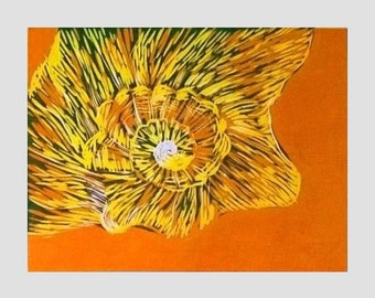 Sea Shell print, Linocut art for sale, Nautical decor, Seashell, Seaside, Orange wall art, Handmade Original print, Limited Edition