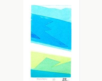 SILKSCREEN PRINT: 'Mountain', Illustration, Art, Hand-made, Original, Limited Edition Silkscreen Print