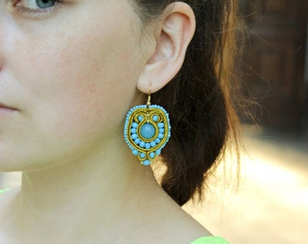 Summer party Birthday gift|for|her Boho beaded earring Agate earring Soutache gold blue dangle earring Embroidered jewelry Turquoise earring
