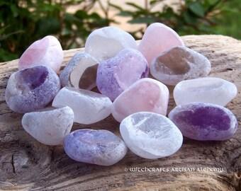 SEER STONE Dreamer's Crystal, Magic Window Egg, Ema River Tumbled Gemstone in Gift Bag - Choice of Amethyst, Clear, Rose or Smoky Quartz