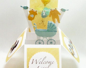 Baby Pop Up Greeting Card - Welcome Little One - Congratulations - Baby Shower Invitation - Baby Gift Card Holder - Customizable