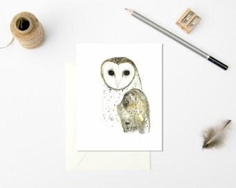 Barn Owl Gift Card, Watercolour Bird Card, Bird Greeting Card, Owl Illustration, Nature Greeting Card, Australian Made