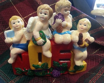 NOEL Christmas Baby Angels Candleholder