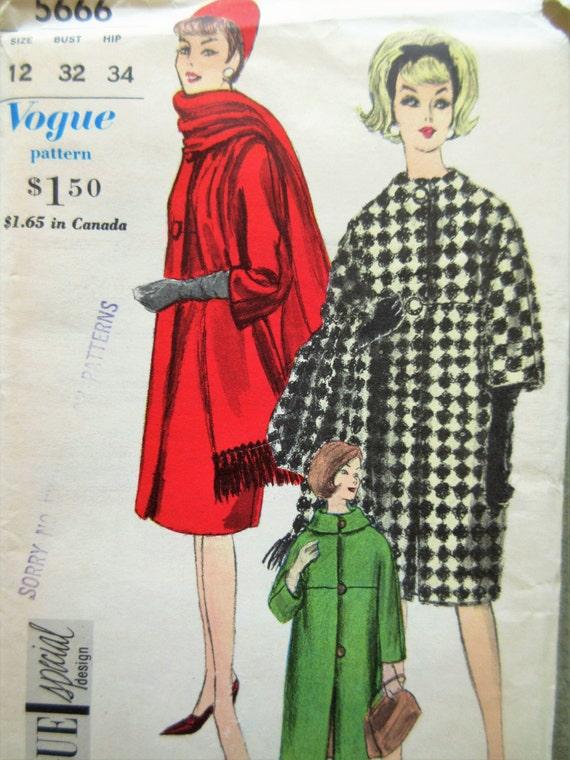 Vintage Vogue 5666 Schnittmuster 1960er Jahre Fellzeichnung