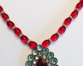 Bollywood Red Kundan Necklace Fancy Red Kundan Jewelry Christmas Red Jewelry