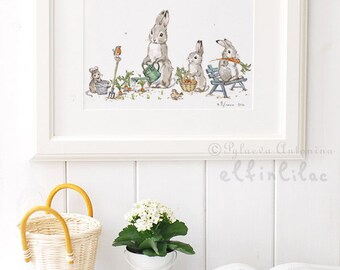 Bunny Nursery Print - Bunny Print - Nursery Decor - Bunny Nursery decor -  Rabbit Nursery - Giclee -  Bunny Nursery Art - Gardening Bunnies