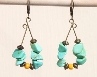 Green Turquoise Earrings Hoop Dangle Earrings Boho Earrings Bohemian Earrings  Brass Earrings Gift Ideas