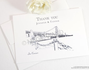 San Francisco Skyline Wedding Thank You Cards, Personal Note Cards, Bridal Shower Thank you Cards (set of 25 cards)