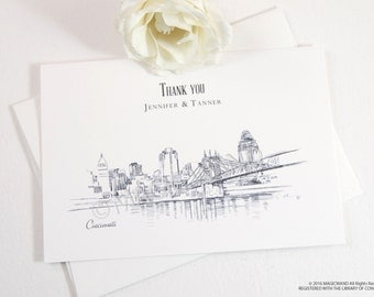 Cincinnati Skyline Wedding Thank You Cards, Personal Note Cards, Bridal Shower Thank you Cards (set of 25 cards)