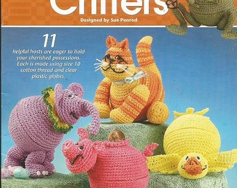 Crochet CACHE CRITTERS Pattern - Annie's Attic - 11 Critters - Designed by Sue Penrod - Duck - Pig - Frog - Apple - Kitty - Lady Bug...