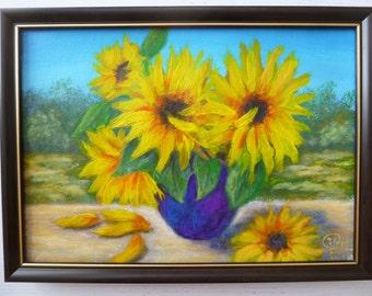 Sunflower Painting, Sunflower Art, sunflower decor, Sunflowers Still Life, OriginaOriginall Art, Handmade, Wall Decor, 9 x 12
