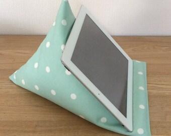 Tablet pillow, iPad stand, aqua blue cushion, phone stand, gadget holder, kindle stand, gadget cushion, tablet holder