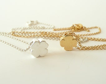 Four Leaf Clover Necklace in Sterling Silver,  Gold Clover Necklace, Dainty Charm Necklace, Thin Chain Necklace, Minimalist Necklace
