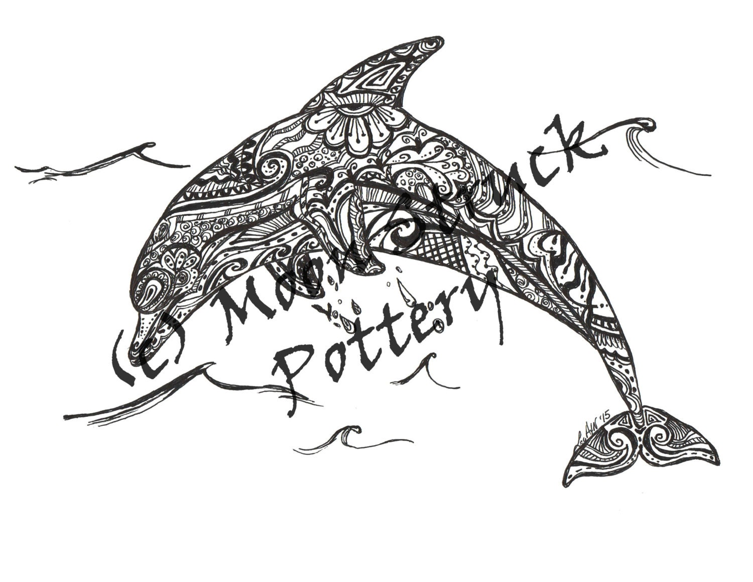 Animal coloring page dolphin coloring page adult coloring for Adult coloring pages dolphin