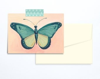 Butterfly greeting card turquoise and coral blank
