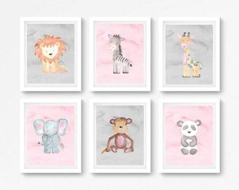 Baby Girl Safari Nursery Prints, Pink and Grey Jungle Wall Art, New Baby Girl Gift, Pink and Grey Baby Shower Gift, Baby Prints, Nursery Art