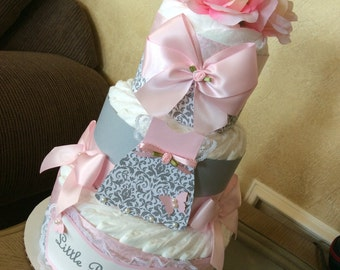 Grey and Light Pink Baby Girl diaper cake/Pink and grey Baby shower centerpiece/Elegant Baby shower Gift/Centerpiece